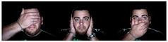 see no evil hear no evil speak no evil (Jacob Fales Photography) Tags: portrait hairy man sexy guy smile umbrella self lens beard nose see eyes nikon funny glare no bees alien sb600 evil ears stare kit 1855 speak hear ringflash d300 alienbees abr800