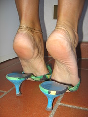 Sara shows her soles in D&G mules (al_garcia) Tags: feet high sandals heels mules soles smelly