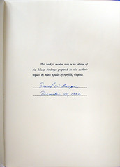 Lange Buffalo Nickel Book Serial Number and Signature Page