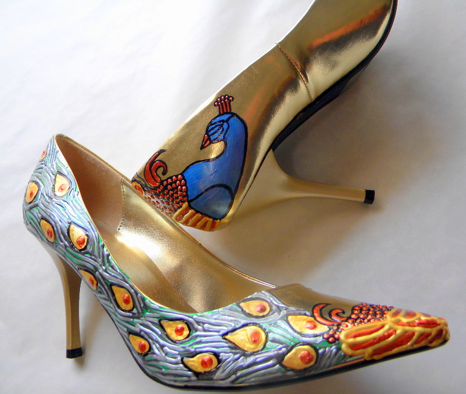 Shoes, Gold , Bridal, Wedding, Event, Party ,painted, Peacocks, pumps,heels ,ART NOVEAU