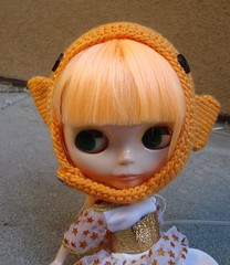 Celadine in a new knit fish hat