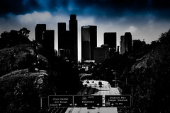 Los Angeles Skyline - Into The Void (TooMuchFire) Tags: blackandwhite dark la losangeles skyscrapers skylines downtownla losangelesskyline elysianpark filmnoir lightroom gothamcity downtownlosangeles cityskylines 110freeway canon30d laskyline arroyosecoparkway