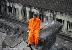 Angkor Wat in Siem Reap, Cambodia (sctatepdx) Tags: orange cambodia monk angkorwat siemreap buddhistmonk