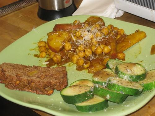 Chickpea mix, zucchini, cantaloupe bread