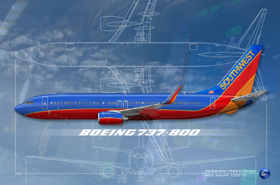 "Southwest Airlines Boeing 737-800 (WL) ""Canyon Blue"""
