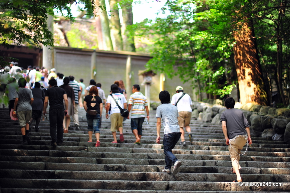 Climbing the steps to the main shrine