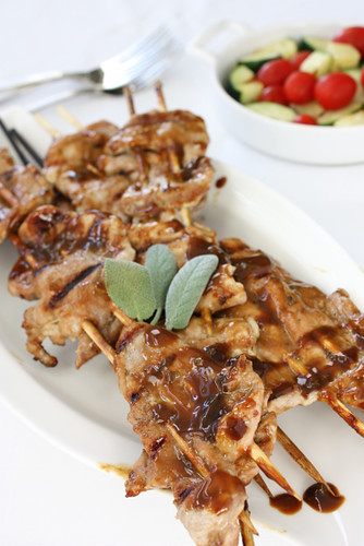 Pork Skewers with Molasses, Dijon Mustard & Sage Glaze Recipe