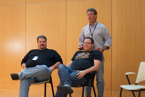 Jason Falls, Jay Baer, and Chris Baggott participate in a panel discussion at Blog Indiana 2010.