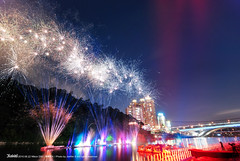 2010 Fireworks at Bitan (Kami) Tags: bridge sky lake water night river nikon fireworks taiwan tokina taipei    suspensionbridge    2010  bitan       invertedimage taipeicounty        waterdance   d80 t116 nikond80 tokinaatx1116mmf28prodx