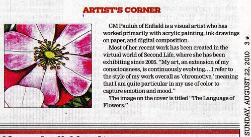 My drawing, The Language of Flowers, published in The Hartford Courant (insert)