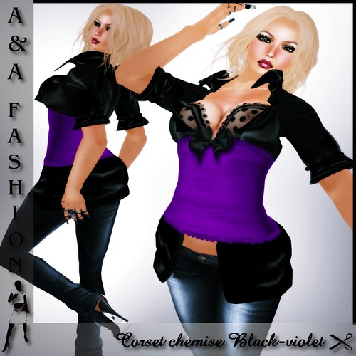 A&A Fashion Corset chemise Black-violet