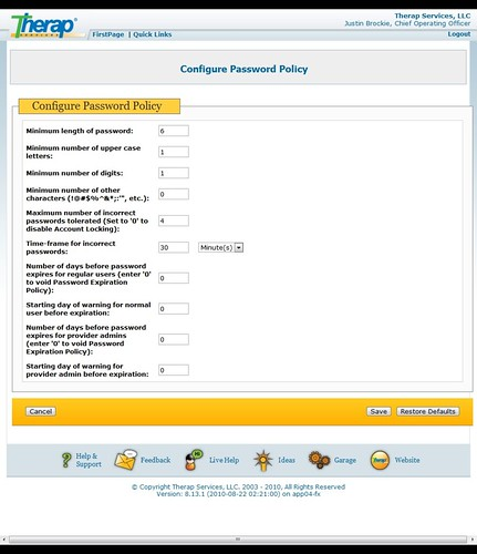 Screenshot of Configure Password Policy