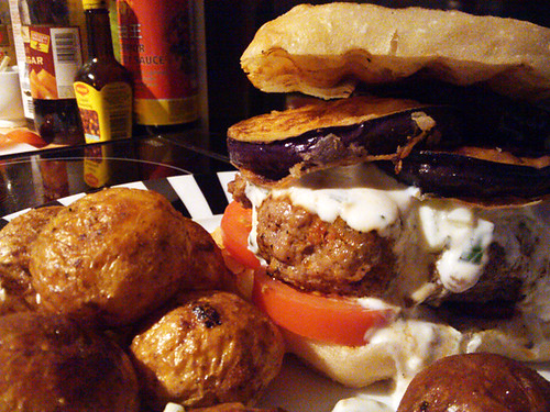 Moussaka Burgers with Fried Aubergine Slices and Tzatzkiki
