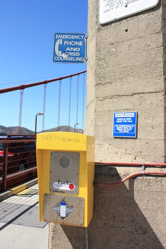 There are emergency crisis phones all along the bridge.