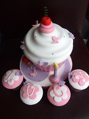 My 1st Giant Cupcake!!! (trulycrumbtious) Tags: birthday pink cake glitter giant cherry butterflies cupcake fondant cuppie