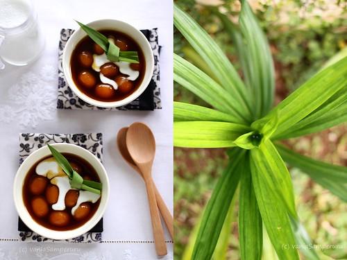 Bubur Biji Salak (L) - Pandan Leaves (R)