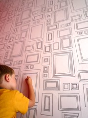 patience (nicouze) Tags: boy brown wall child drawing dessin draw mur enfant graham cadre tapisserie nicouze