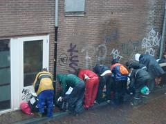 Line Up (indigo_jones) Tags: morning holland students netherlands rain umbrella university utrecht boots nederland luggage bags tradition morningsuit regen paraplu introduction unitas rainsuit ontgroening
