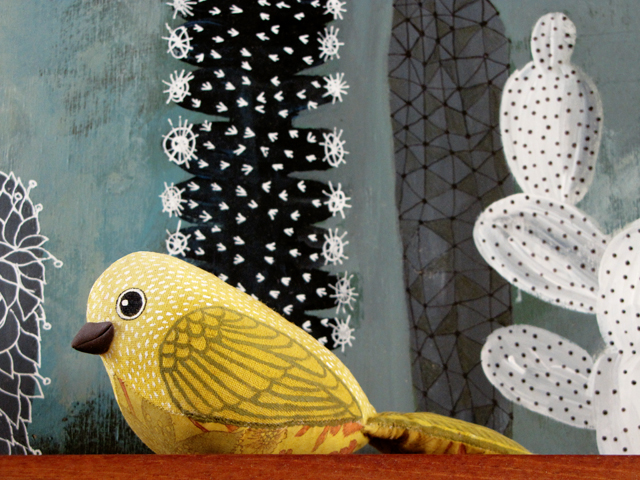 Tiel's cactus painting with my bird