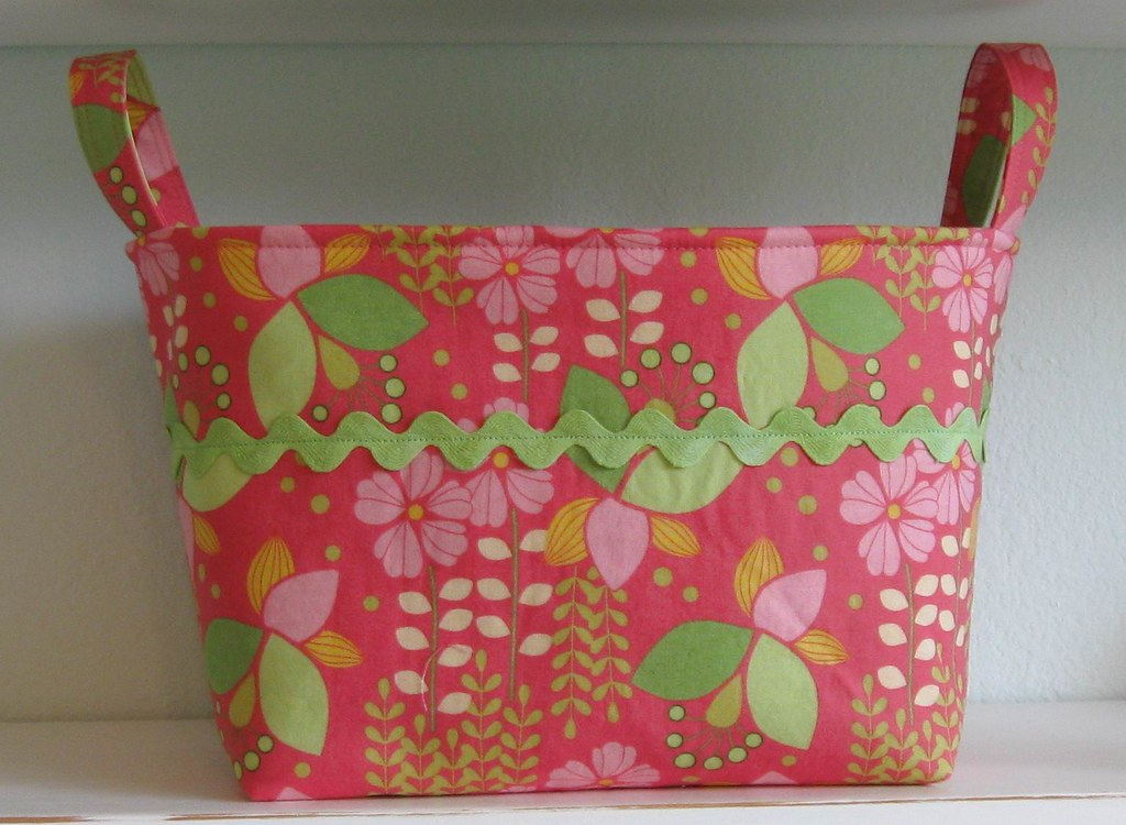 FABRIC BIN- Flowers- Bright Coral Pink- Lime Green- Yellow