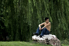 Sitting in the breeze (ctownjb) Tags: china trees shirtless man green rock digital sitting chinese young willow chinadigitaltimes times breeze shanghaiist ctrippic