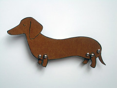 little dog (jordangrace) Tags: illustration miniature dachshund handcolored birthdaygift paperdoll brads