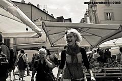 A good laugh (farnitano.amos) Tags: street city two people blackandwhite bw italy woman rome roma girl square donna nikon europa europe strada italia gente market bn laugh blonde piazza mercato due biancoenero ragazza citt campodefiori risata bionda stphotographia