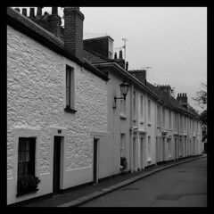 The Esplanade (angelsgermain) Tags: street houses windows england bw white black cornwall doors village unitedkingdom pavement faades perspective roofs fowey theesplanade