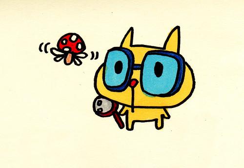 きのこ虫観察