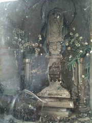 Shrine cementerio de Betanzos (smokey lace) Tags: flowers glass grave shrine madonna cementerio tomb eerie spooky faded haunting decayed cememtery
