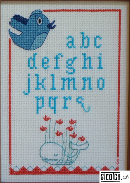 Twitter Fail Whale cross stitch sampler