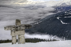 Inuksuk On Whistler Mountain, BC, Canada (Evan Gearing (Evan's Expo)) Tags: mountain canada ski whistler nikon rainforest skiing bc britishcolumbia inukshuk 18200 hdr blackcomb inuksuk temperate inuksuit d300s evangearingphotography evansexpo
