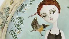 . (Vicky Ruz Daz) Tags: detalle lago plantas peces dia cielo laguna pajaro nena dibujo suave tarde vestido pintura acrilico colorada trenzas