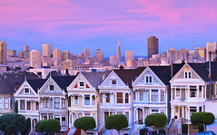 Painted Ladies with pink and blue hats, San Francisco (Jared Ropelato) Tags: sanfrancisco california city longexposure trip travel light wild vacation sky urban nature beautiful clouds canon landscape lights evening site rocks day cloudy outdoor tripod scenic illumination visit scene hike cliffs trail filter wilderness rugged lombard paintedladies illuminate manfrotto 2010 giotto cablerelease 2011 1635mm singhray 5dmkii jaredropelato ropelatophotography