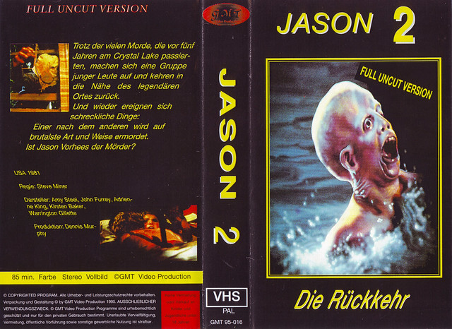 Friday The 13th, Jason 2 (VHS Box Art)