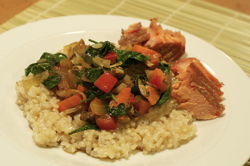 Brown rice w/sauteed vegetables; smoked salmon