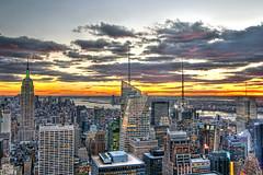 Top of the Rock Sunset (ajagendorf25) Tags: new york city sunset red sun color building yellow rock 30 contrast photoshop river square high nikon downtown dynamic state dusk top manhattan center midtown empire nik times hudson rockefeller range hdr tonal d90 photomatix cs5 efex alexjagendorf ajagendorf