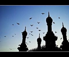 Mecca Masjid (mosque) in silhouette (PNike (Prashanth Naik)) Tags: sunset india art birds silhouette architecture nikon prayer culture mosque bluehour hyderabad mecca oldcity masjid makkah pegions mygearandmepremium pnike