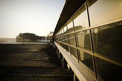 Pier Scheveningen (Marco Boekestijn) Tags: ocean sunset sea building beach water netherlands glass dutch architecture backlight vintage point photography pier nikon warm boulevard colours view bright scheveningen den noordzee delft marco below haag pillars tegenlicht d80 boekestijn