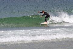 Surf at Nauset Beach (brucetopher) Tags: surf water wave waves ocean sea coast coastal beach green blue greenroom breakers atlantic break spray sets surfer surfing eastcoast east coldwater wetsuit wet suit ride people man watersports sport sports shallow clear transparent