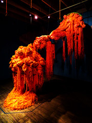 Knitting Mania (Steve Taylor (Photography)) Tags: knitting moma ps1 art sculpture light artgallery black orange brown wooden asia city singapore contrast wool acrylic