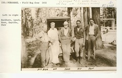 1932. Field Bug Crew. L-R: Walter J. Buckhorn, Lynch, F.P. Keen, Kapitke, and Parr. (USDA Forest Service) Tags: usda usfs forestservice foresthealthprotection region6 r6 stateandprivateforestry forestinsect fhp spf bureauofentomology divisionofforestinsectinvestigations forestinsectinvestigations bugcrew barkbeetles hisnibs walterjbuckhorn wjbuckhorn walterbuckhorn buckbuckhorn fpkeen lynch kapitke parr 1932 fieldcrew ps6003