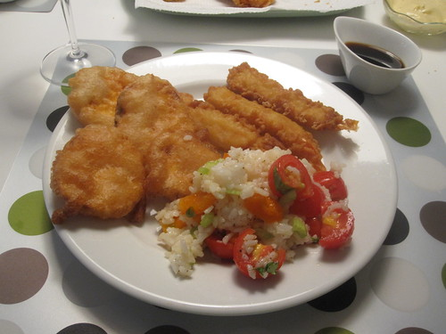 Tempura and rice salad