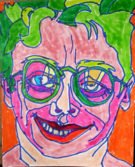 Happy Hair Unbound in the Boundless Morning: 2007.04.24 (Julia L. Kay) Tags: sanfrancisco portrait selfportrait art face pen self sketch san francisco artist arte julia kunst magic autoretrato kay felt daily brush dessin peinture portraiture marker 365 everyday dibujo artista artiste magicmarker knstler tombow feltmarker brushmarker juliakay penwa julialkay
