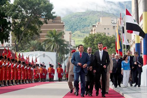 Baschar Al Assad und Hugo Chávez bei einem Staatsbesuch des syrischen Präsidenten in Venezuela