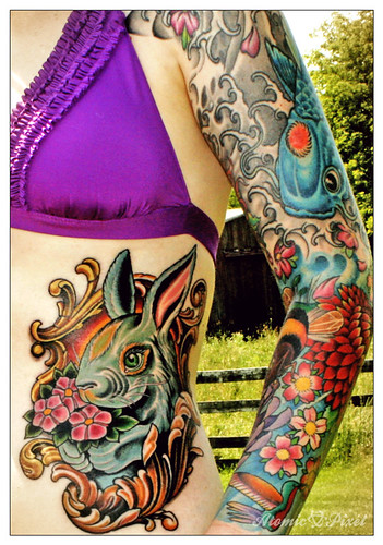 Chinese Zodiac Rabbit Tattoo. New tattoo by Russ Abbott of Ink & Dagger,