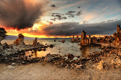 A Good Sunset is Worth the Wait (Extra Medium) Tags: sunset lake reflection beach clouds rocks monolake tufa sierranevadas nothdr singleshotwithcokingndfilters