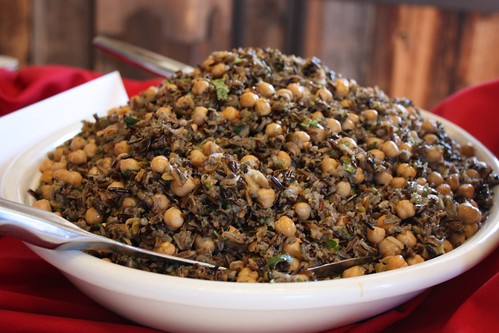 My recipe served at dinner... Chickpea and Wild Rice Salad with Roasted Poblanos and Chili Lime Vinaigrette