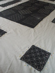Pinned Sashiko Quilt...Over 13,600 Hand-Stitches (Pictures by Ann) Tags: blue white japanese pattern quilt natural geometry embroidery workinprogress navy indigo wip pins cotton repetition math quilting stitches quilted stitching simple applique embroidered detailed pinning pinned repetitive sashiko geometic straightstitch