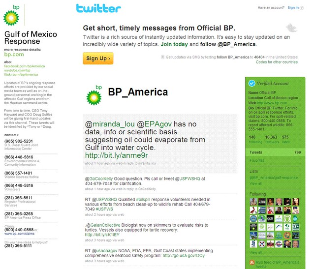 BP Twitter page